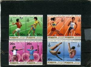PENRHYN 1980 Sc#119-122 SUMMER OLYMPIC GAMES MOSCOW SET OF 8 STAMPS MNH