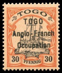 Togo 1914 KGV 30pf black & orange/buff MLH. SG H6. Sc 40.