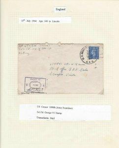 US CENSOR COVER  APO TO LINCOLN 1944 US SENSOR 10988