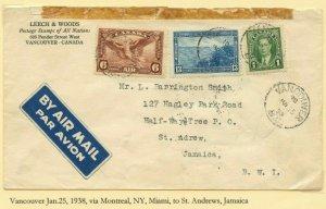 FAM 5 to JAMAICA via Miami Kingston, 1938  cover Canada