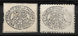 Doyle's_Stamps: Roman States, Italy, 1867 Postage Stamps, #13* & #20*
