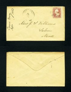 # 65 on cover with Paid cancel to Salem, Massachusetts dated 9-27-1863