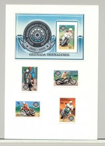 Grenada Grenadines #642-646 Motorcycles 4v & 1v S/S Imperf Proofs on 1v Card