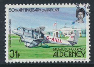 Alderney  SG A21  SC#  21  Aircraft Airport Used First Day Cancel - as per scan