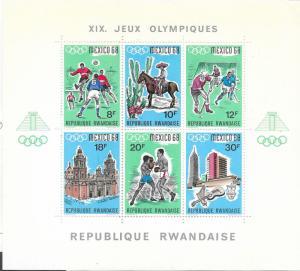 Rwanda #254  1968 Olympics Souvenir Sheet of 6 (MNH) CV $11.00