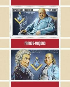 WD09/23/20-Togo - 2019 Famous Freemasons - Stamp Souvenir Sheet - TG190135b