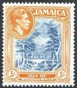 JAMAICA-1938 5/- Slate-Blue & Yellow-Orange Sg 132 LIGHTLY MOUNTED MINT V24398