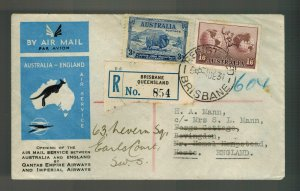 1934 Brisbane Australia England FFC First Flight Cover Imperial Airways Qantas