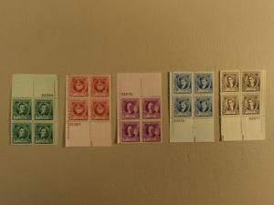 USPS Scott 879-83 American Composers 1940 Lot Of 5 Plate ...