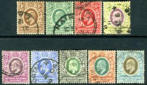 EAST AFRICA & UGANDA-1907-08 Set to 75c Sg 34-42 FINE USED V15541