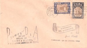 1953 Cuba Stamps Sc 502-503 Jose Marti Centenary  FDC
