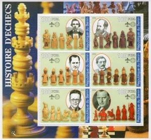 Benin 2002 HISTORY OF CHESS Sheetlet (6) Perforated MNH
