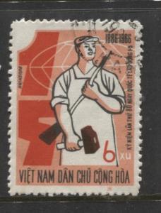Dem.Rep.Viet Nam - Scott 424- May Day -1966 -FU-Single 6xu Stamp