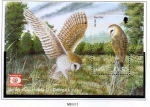Jersey  Sc 1003a 2001 £1.5 Barn Owl Hafnia stamp sheet used