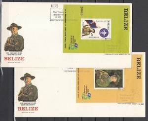 Belize, Scott cat. 644-645. Scouting Anniversary s/sheets. 2 First day covers. ^