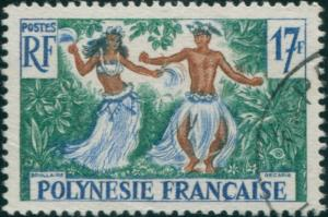 French Polynesia 1958 Sc#194,SG11 17f Tahitian Dancers FU