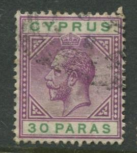 Cyprus - Scott 63 - KGV Definitive Issue -1912 - Used - Single 30pa Stamp
