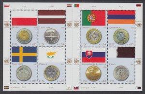 UN Vienna 421 Flags and Coins Souvenir Sheet MNH VF