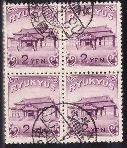 RYUKYU Scott 10 scarce used block of 4