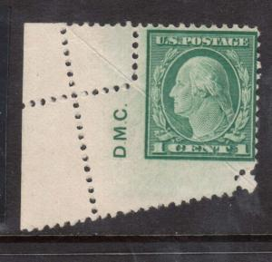 USA #498 Mint Pre Perf Foldover With Engravers Initials Variety