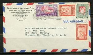 GUATEMALA 1951 COVER INTERESTING FRANKNG TO VIRGINIA