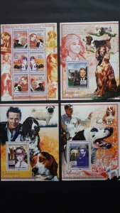 Dogs of famous people - Guinea 2008. - Complete SS+ 3x Bl ** MNH