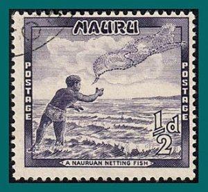 Nauru 1954 Fisherman, 0.5d used #39,SG48
