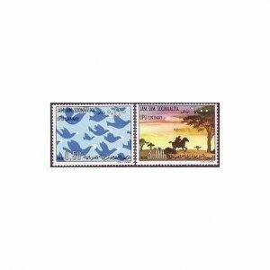 Somalia 414-415,MNH.Michel 217-218. UPU-100,1974.Carrier pigeons,Post rider.