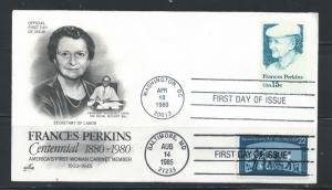 US #1821 and #2153 FDC 15c Frances Perkins & 22c Social Security Act