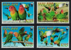 Malawi WWF Lilian's Lovebird 'Agapornis lilianae' 4v SG#1041-1044 MI#819-822