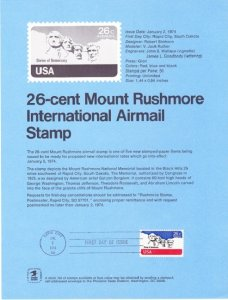 US SP343 Mount Rushmore Souvenir Page #C88
