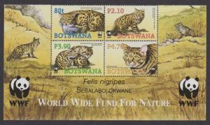 Botswana WWF Black-footed Cat 4v Bottom block of 4 with WWF Logo SG#1040-1043