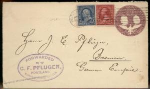 USA 1895 CF Pfluger Forwarding Agent Oregon Bremen Germany Columbian Cover 92127