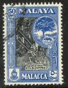 MALAYA MALACCA  1960 50c BLOWPIPES Pictorial Issue Sc 63 VFU