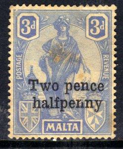 Malta 1925 KGV 2 1/2d Ovpt 3d Cobalt No Gum SG 141 ( B1250 )