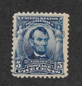 304 MNH VG, 5c. Lincoln, scv: $150