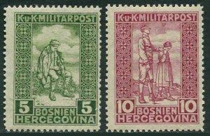 Bosnia & Herzegovina B9-B10,MNH.Mi 97-98. Semi-Postal 1916.Wounded,blind soldier