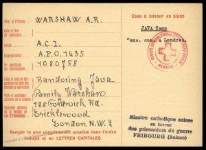 UK 1943 Japanese POW Bandeoing Java Camp Red Cross Cover Catholic Switzerl 89622