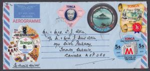 Tonga Sc 425/C215 on 1980 Aerogramme to Canada