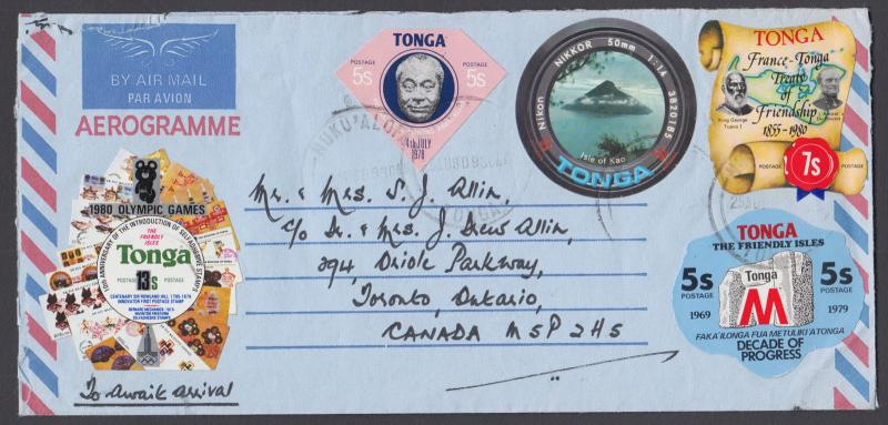 Tonga Sc 425/C215 on 1980 Aerogramme to Canada