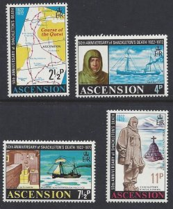 Ascension Island #160-63a MNH set, Shackleton antarctic expedition 50th anniv.