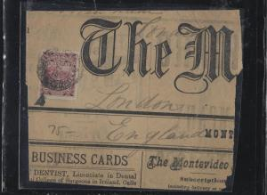 URUGUAY   (PP2604B)  2C ON PIECE OF NEWSPAPER TO LONDON