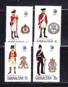 Gibraltar 330-333 Set MNH Military Uniforms (B)
