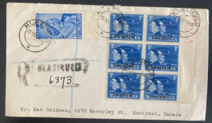 1949 Hlatikulu Swaziland Registered cover To Montreal Canada Overprinted Stamps