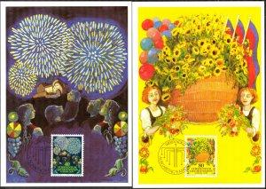 Liechtenstein 1981 Europa CEPT Folklore 2 Maxi Cards FDC