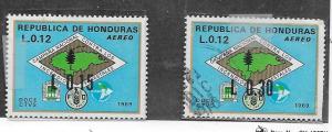 Honduras #C497-498  Map of Honduras (MH&U)  CV $1.55