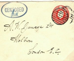 GB WW1 Cover Military Naval Very Fine *CENSORED* London c1915{samwells} 39b.9