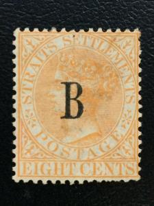 1883 British PO in Siam Straits Settlements QV 8c MLH SG#20 CV£250 M2168
