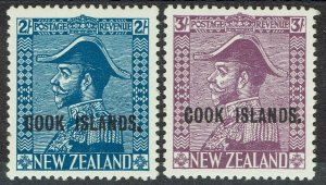 COOK ISLANDS 1936 KGV ADMIRAL 2/- AND 3/- MNH **