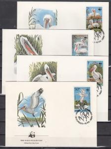 Romania, Scott cat. 3232-3235. W.W.F.- Pelicans issue on 4 First day covers.